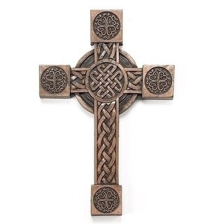 "8"" Antique Bronze Colored Irish Cross with Celtic Symbols Religious Wall Decoration"