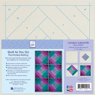 Quilt As You Go Printed Quilt Blocks On Batting-London Labyrinth