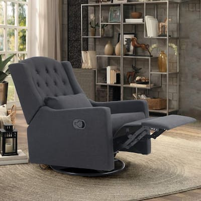 PHI VILLA Recliner Chair, Adjustable Angle Chaise Chair with Manual Footrest, Overstuffed Fabric Glider Chair