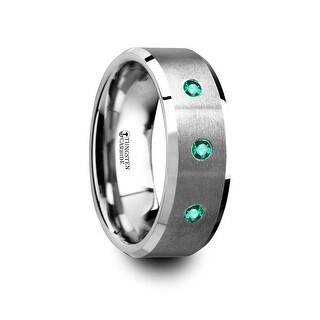 THORSTEN - ICARUS Brushed Tungsten Men's Wedding Ring with Polished Beveled Edges & 3 Emeralds