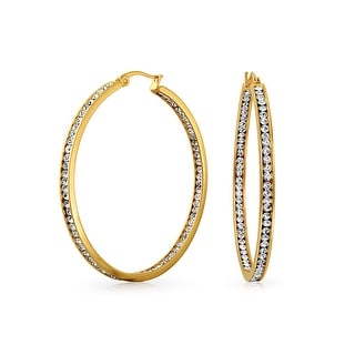 Bling Jewelry Gold Plated Stainless Steel CZ Inside Out Hoop Earrings