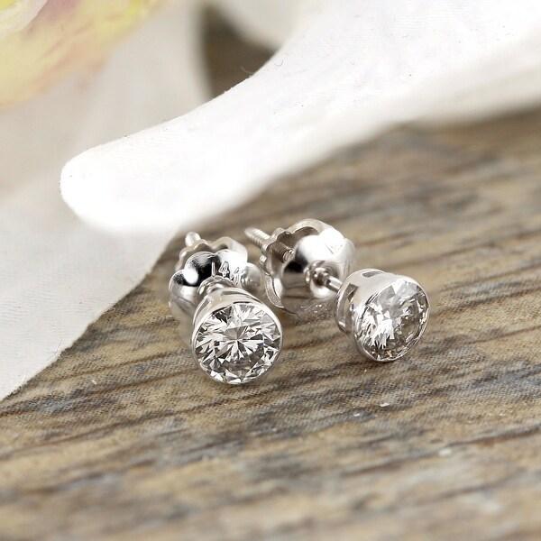 Auriya 14k Gold 0.33ctw Round Bezel-set Diamond Stud Earrings. Opens flyout.