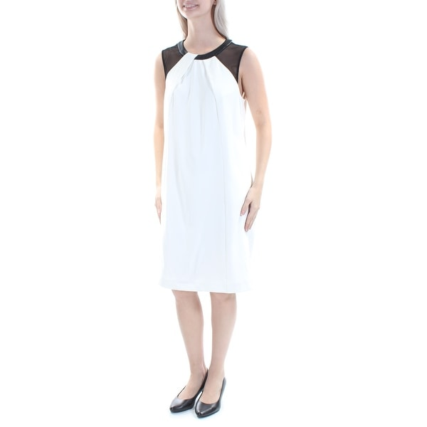 Shop ALFANI Womens Ivory Faux Leather Mesh Color Block Sleeveless Jewel  Neck Knee Length A-Line Cocktail Dress Size  6 - Free Shipping On Orders  Over  45 ... fd188cdc4ac8