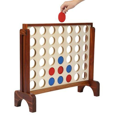 Ant Wooden 4 in a Row Game with Storage Bag, Family Game Fun