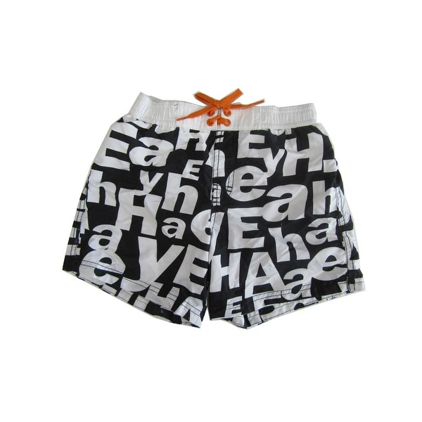 a02dca4200 Shop Jake Austin Boys Black White Letter Print Adjustable Waist Swim Shorts  - Free Shipping On Orders Over $45 - Overstock - 22465606
