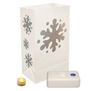 12 Battery Operated LED Flameless Tea Candles Snowflake Christmas Luminaria Kit