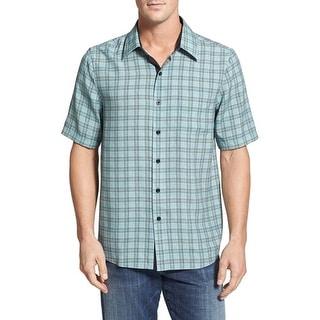 Nat Nast NEW Green Mens Size Small S Button Down Silk Plaid Shirt