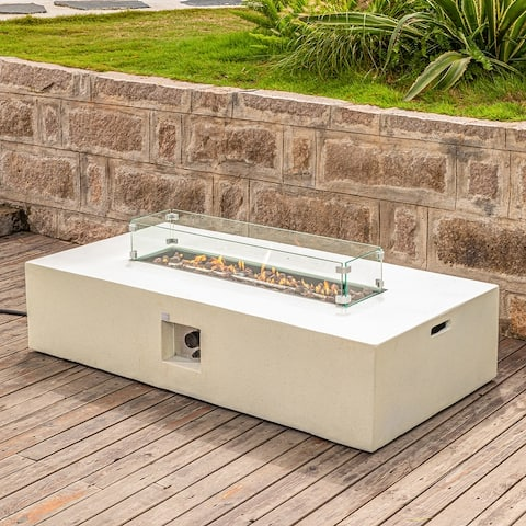 COSIEST Outdoor Propane Fire Pit Table w/ wind guard