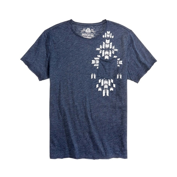 Shop American Rag Navy Blue Heather Aztec Print Crewneck T-Shirt ... b71bc02eb9da2