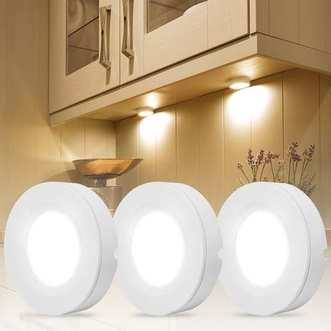 LED Under Cabinet Puck Light, RGB Color Changeable, Set of 3