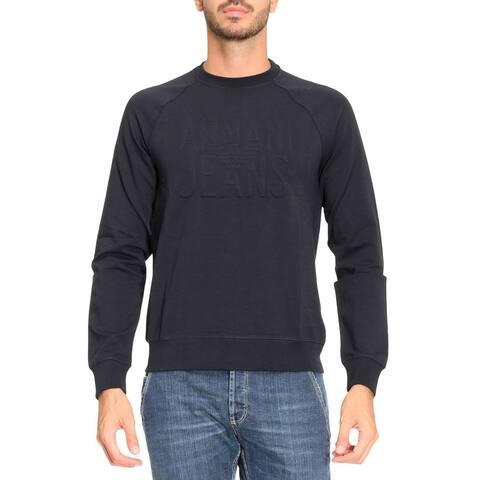 Armani Jeans Mens Embossed Logo Crewneck Sweatshirt Small Midnight Blue