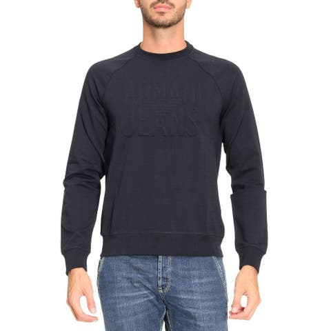 Armani Jeans Mens Embossed Logo Crewneck Sweatshirt XXL Midnight Blue
