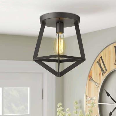 Zeyu 1-Light Black Flush Mount Ceiling Lights Metal Shade - 11 inch