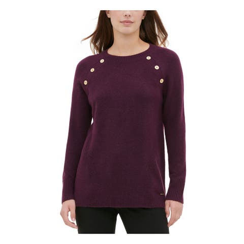 CALVIN KLEIN Womens Purple Long Sleeve Jewel Neck Sweater Size XS