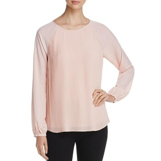 Calvin Klein Womens Blouse Pleated Panel Raglan Sleeves