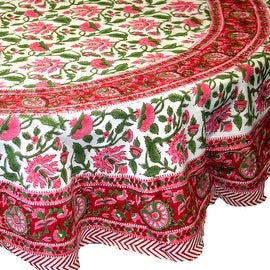 Handmade Lotus Flower Block Print 100% Cotton Tablecloth Red 60x60 Square 60x90 REctangle 72 Inch Round