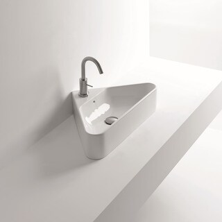 """WS Bath Collections Normal 04C 22-1/16"""" Ceramic Vessel Bathroom Sink with 1 Hole Drilled and Overflow from the Normal Collection"""