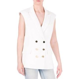 Veronica Beard Womens Textured Notch Collar Casual Vest - 6