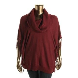 MICHAEL Michael Kors Womens Fringe Cowl Neck Poncho Sweater