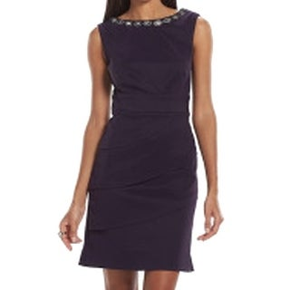 Connected Apparel NEW Purple Women's Size 12 Embellished Tiered Dress