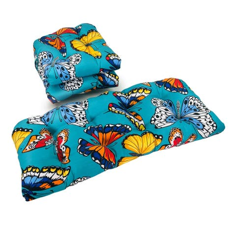 Outdoor Butterfly Garden Turquoise 3 Piece Cushion Set - 19