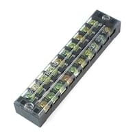 Unique Bargains 600V 25A Dual Rows 10 Positions Covered Screw Terminal Barrier Strip Block
