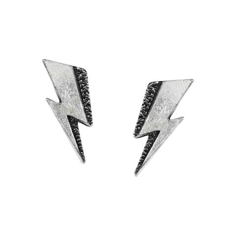 "Alchemy of England David Bowie Stud Earrings - Aladdin Sane Lightning Bolt, 1/3"" - Silver"