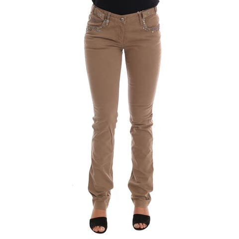 Costume National Beige Cotton Stretch Slim Fit Women's Jeans