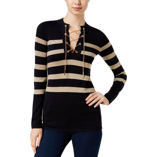 4cbc944fe3a Shop MICHAEL Michael Kors Womens Tunic Sweater Striped Chain Lace-Up - xs -  Free Shipping Today - Overstock - 19679196