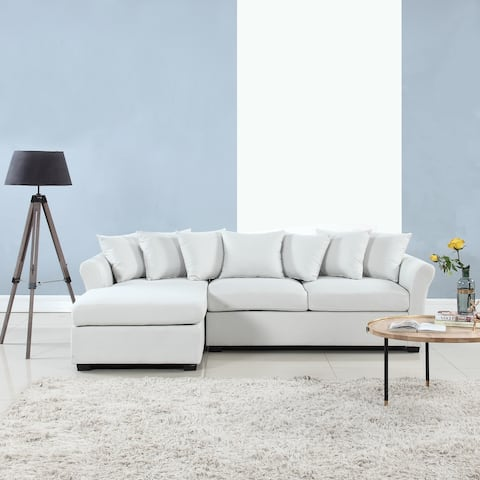 Large Linen Fabric Sectional Sofa w/ lounge