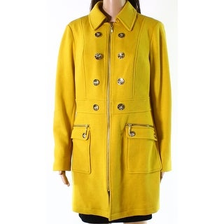 INC Womens Medium Button-Trim Double Breasted Coat