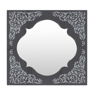 "28"" Avanti Navy and Gray Contemporary Scrolls and Florals Square Mirror"