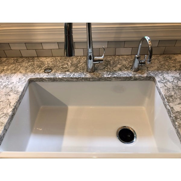 Shop HighPoint White Fireclay 30 Inch Farm Sink   Free Shipping Today    Overstock   5036490