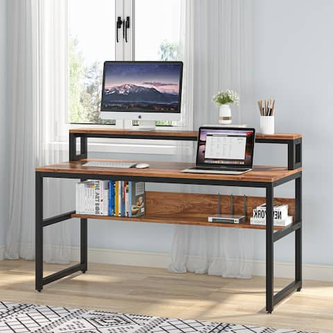 """55'' Computer Desk with Monitor Stand, Office Desk Writing Desk with Shelf - 55.1"""" L* 23.6"""" W"""