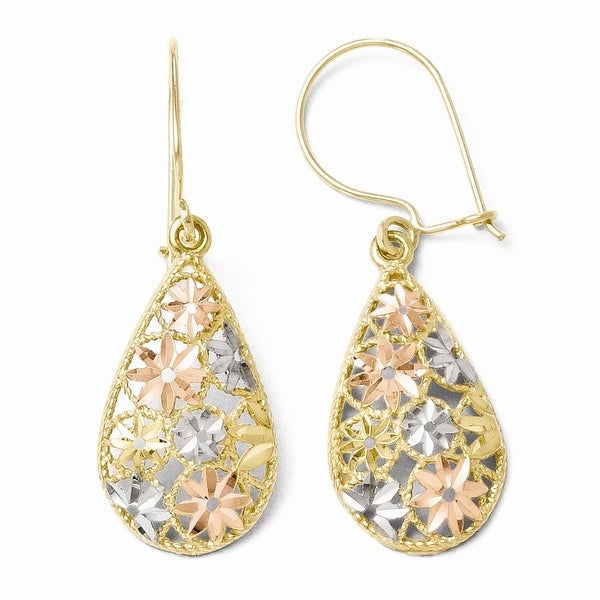 10k Gold with White and Rose Rhodium Diamond-cut Dangle Earrings