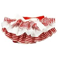 Baby Girls Red and White Ruffled Stripe Satin Bloomers 0-36 Months