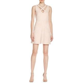 WAYF Womens Evening Dress Faux Suede Criss-Cross Front