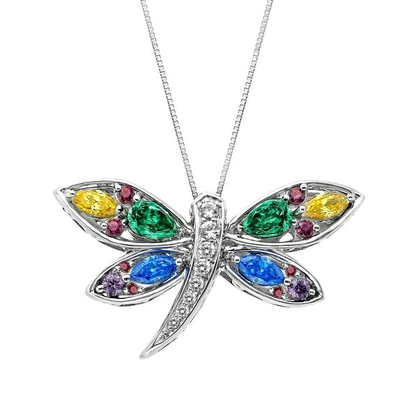 3 7/8 ct Enhanced Rainbow Topaz Dragonfly Pendant in Sterling Silver - multi-color