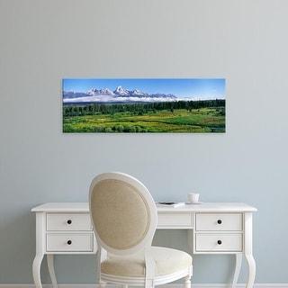 Easy Art Prints Panoramic Image 'Blacktail Ponds, Mountain,Teton Range, Grand Teton National Park, Wyoming' Canvas Art