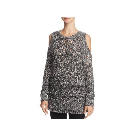BB Dakota Womens Bernette Pullover Sweater Wool Blend Cold Shoulder