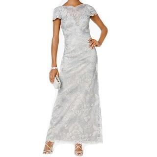 Tadashi Shoji Womens Embroidered Shimmer Gown