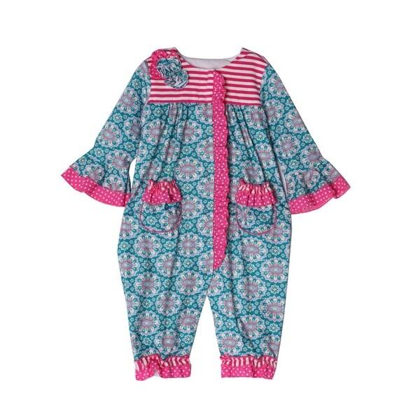 Isobella & Chloe Baby Girls Teal Cloverfield Striped Flower Ruffles Romper
