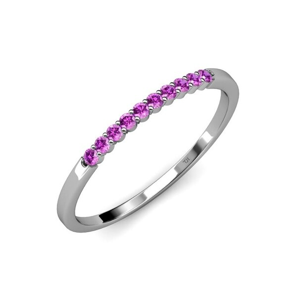TriJewels Amethyst 1/6 ctw 10 Stone Wedding Band Stackable 14K Gold. Opens flyout.