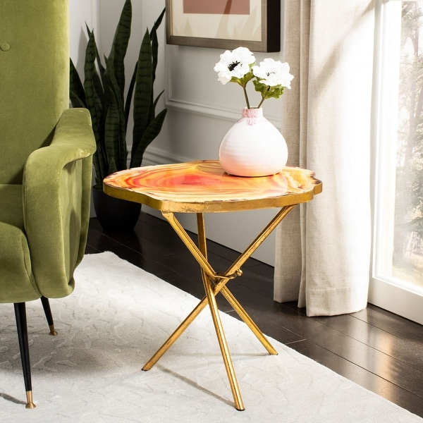 """SAFAVIEH Giselle Faux Agate Side Table - 16"""" x 18"""" x 17.5"""". Opens flyout."""
