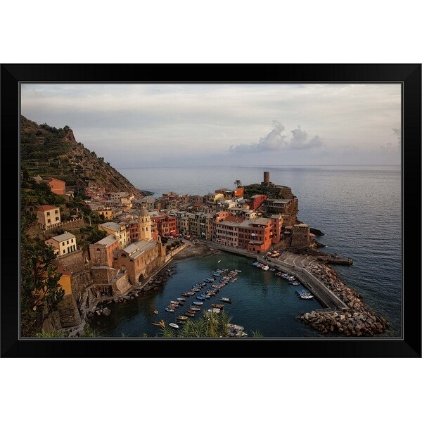 """""""Chinque Terre, Italy"""" Black Framed Print"""