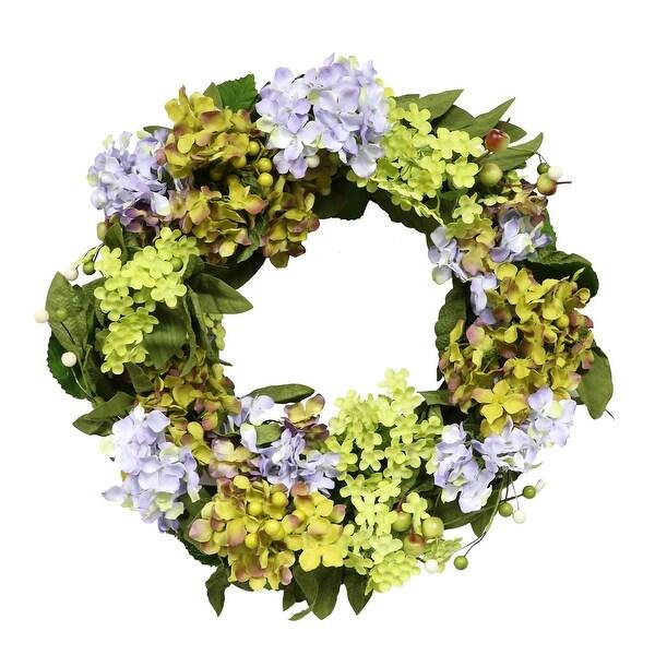 Artificial Wreath with Purple Hydrangea, Multi-Color 22-Inch - Multi - N/A