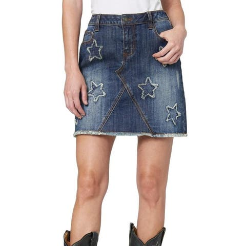 Stetson Western Skirt Womens Denim Raw Edge Stars - Blue