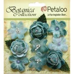 "Teal - Botanica Vintage Velvet Mini Flowers 1"" - 1.5"" 9/Pkg"
