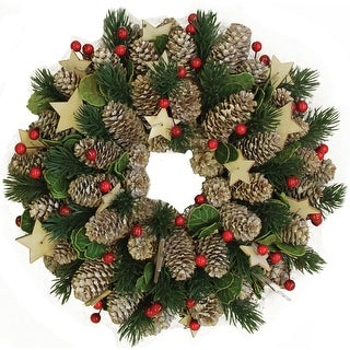 "10"" Decorative Pine Cone with Berries and Stars Christmas Wreath - Unlit"