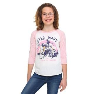 Star Wars Ep 7 Rebel Group Girls Pink Sleeve Raglan Shirt